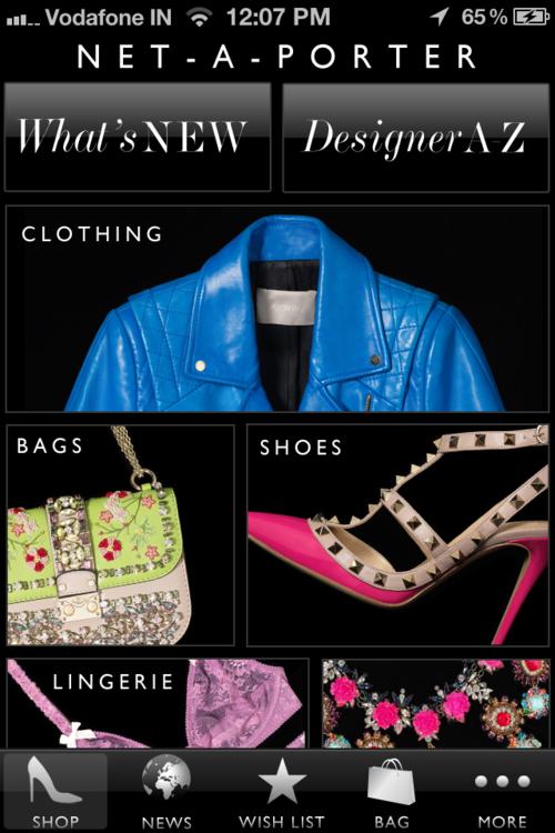 netaporter homescreen iphone Fashion shopping apps