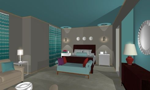 Gray And Turquoise Bedroom1 Online Design: California Dreamin Part 44