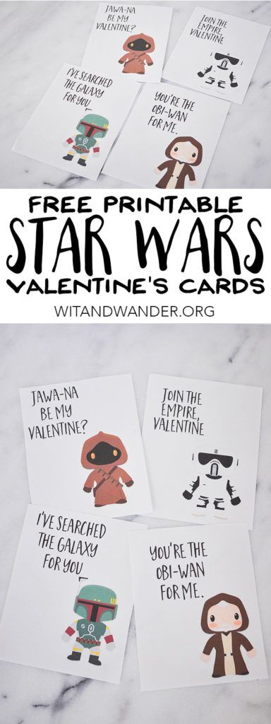 Star Wars Valentines Day Cards for Kids - Use these for friends, teachers, and classmates. They are perfect for Valentine's Day Class Parties. These Star Wars Valentines feature a jawa, Stormtrooper, Boba Fett, and Obi Wan Kenobi. | Wit & Wander Part 3