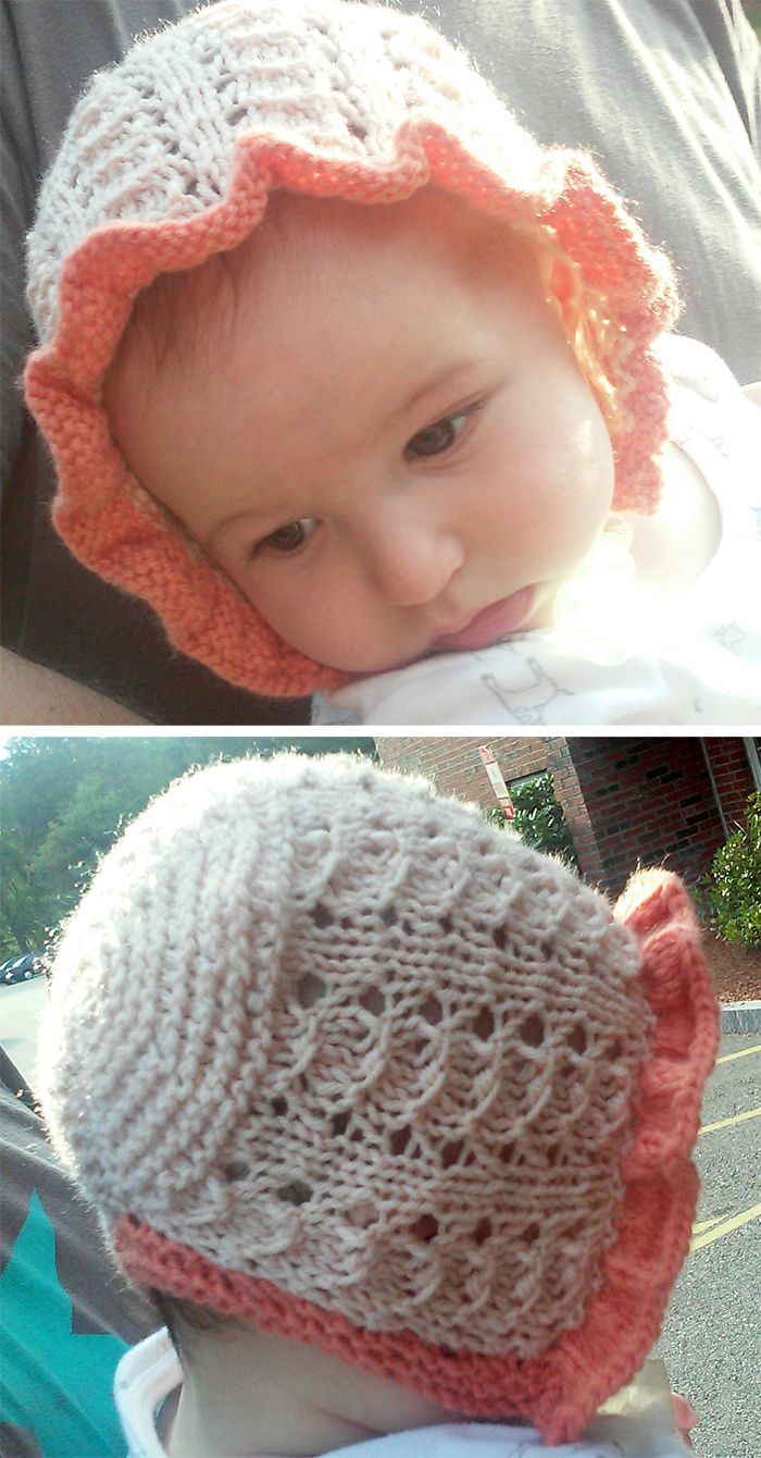 Free Knitting Pattern for Simple Lace Baby Bonnet - Baby hat with options  for garter stitch or ruffle edging. Size 3-6 months. Designed by Elyse Heise 62bc9730381
