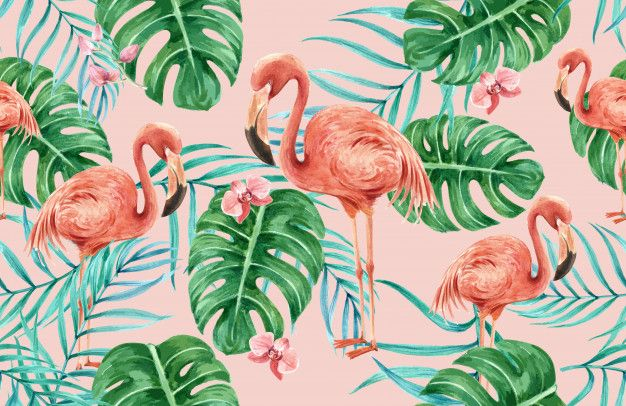 Tropical pattern flower watercolor, thanks card, textile print illustration Free Vector #tropicalpattern
