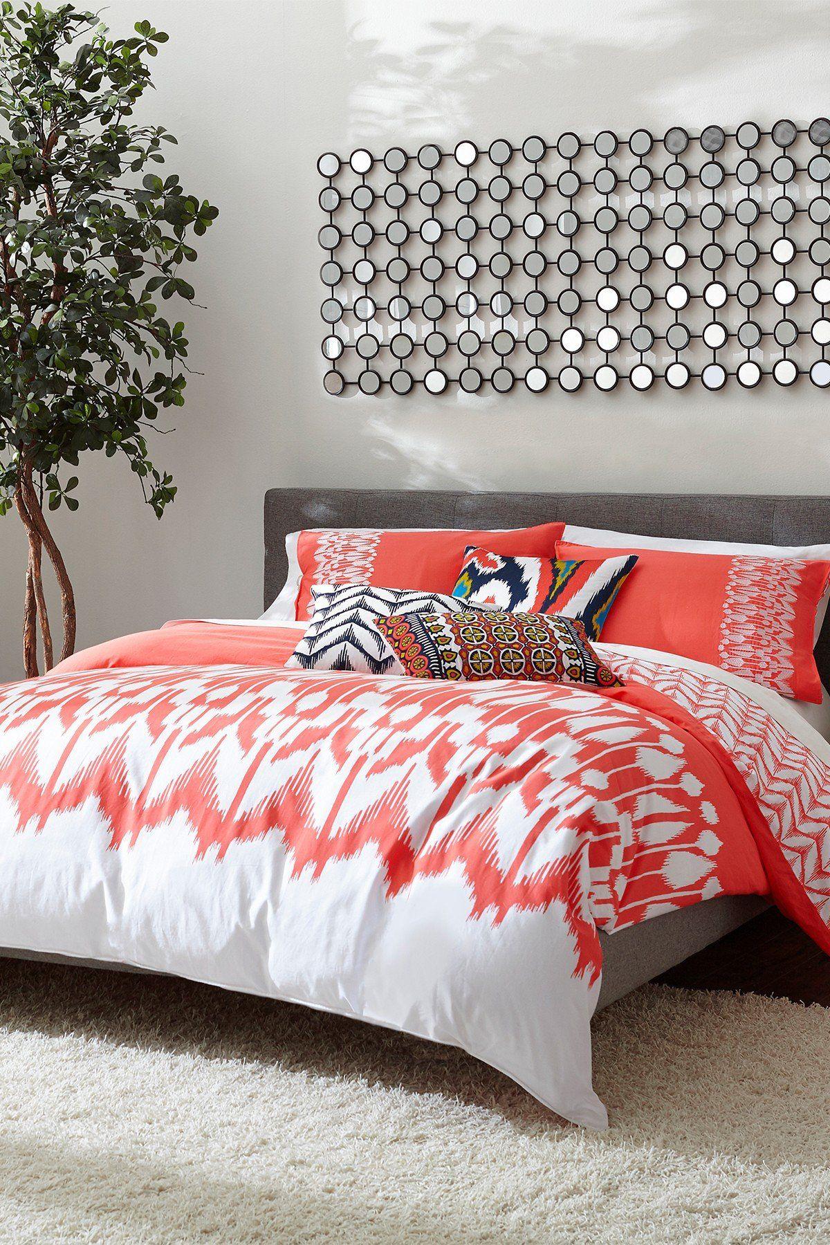 Hollyhock Ikat Comforter & Sham Set Coral/White Trina