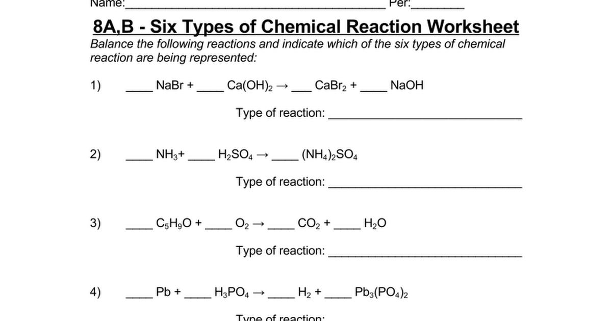 8A,B Six Types of Chemical Reaction Worksheet Google