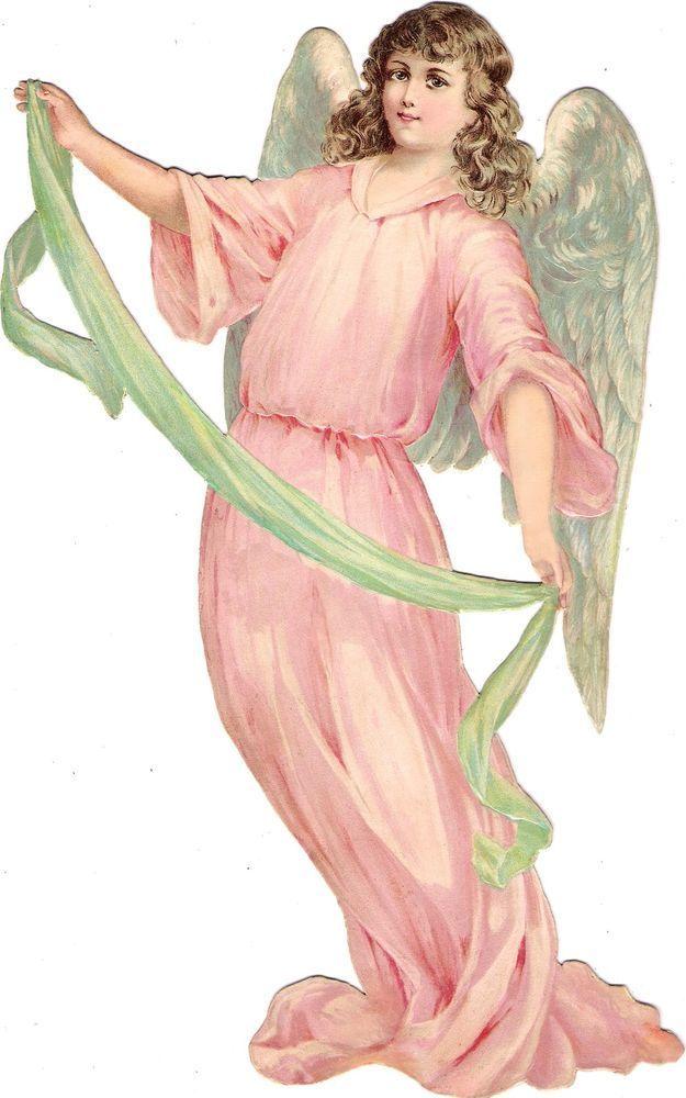 Oblaten Glanzbild scrap diecut chromo Engel angel  XL 29cm ange cherub cupid: