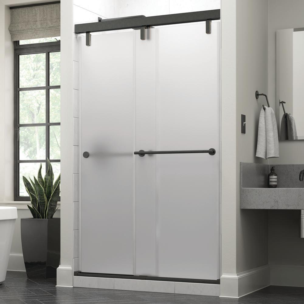 Delta Everly 48 X 71 1 2 In Frameless Mod Soft Close Sliding Shower Door In Bronze With 3 8 In 10mm Niebla Glass Shower Doors Tub Shower Doors Frameless Sliding Shower Doors