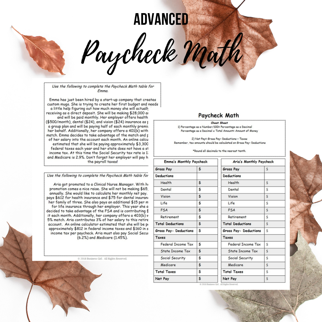 Advanced Paycheck Math For High School Students High School Students Math Real Life Math