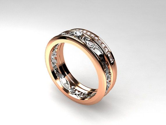 Narrow Filigree ring set with diamonds in rose and white gold