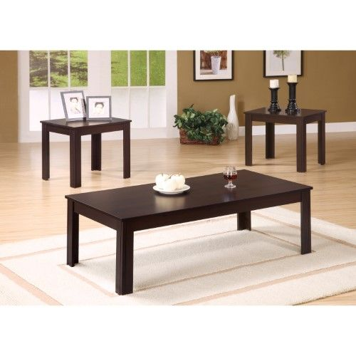 Best Monarch Specialties Black 3 Piece Coffee Table Set Beige 400 x 300