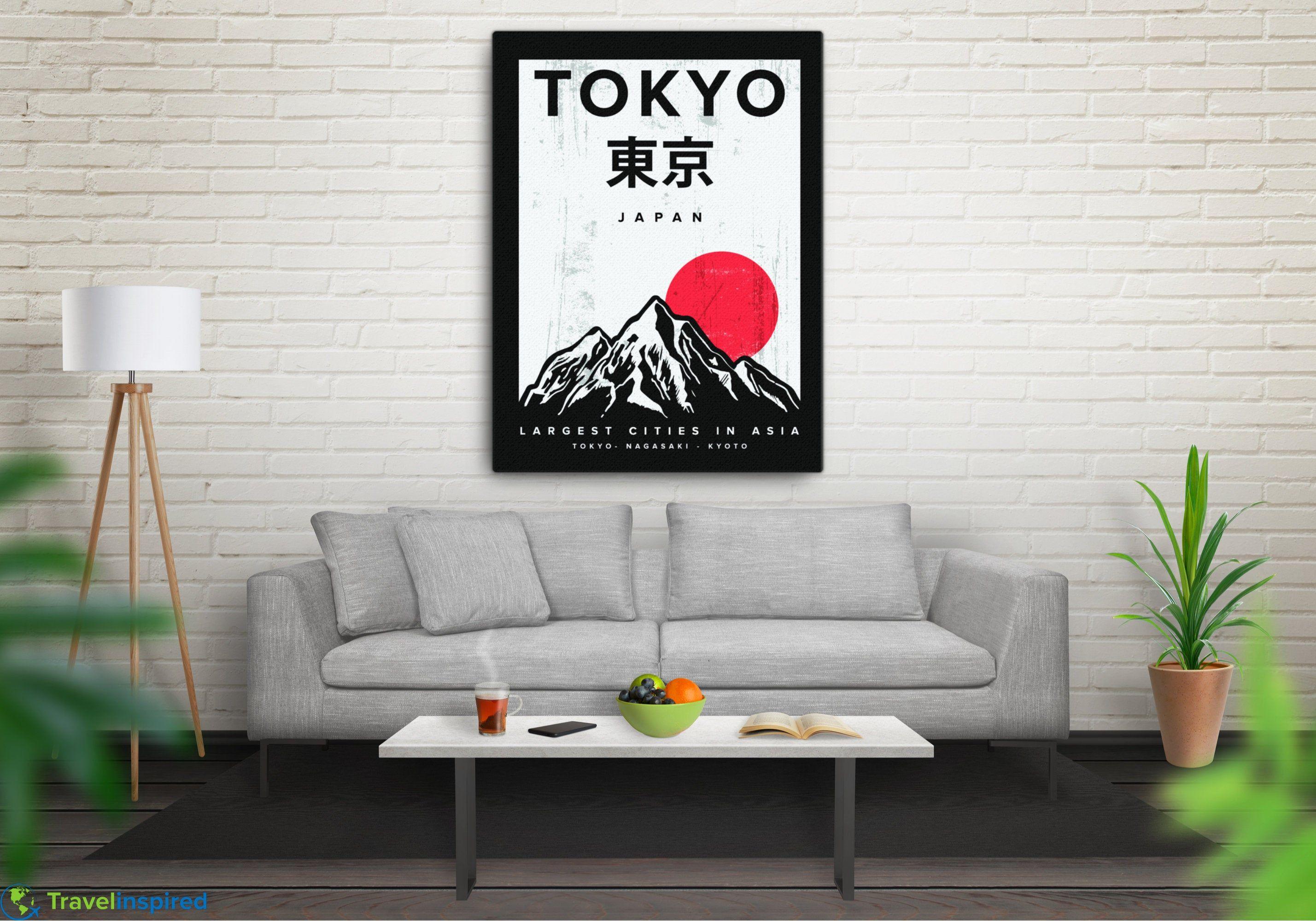 Vintage Tokyo Japan Canvas Japanese Wall Art Minimalist Etsy Japanese Wall Art Tokyo Wall Art Japanese Wall