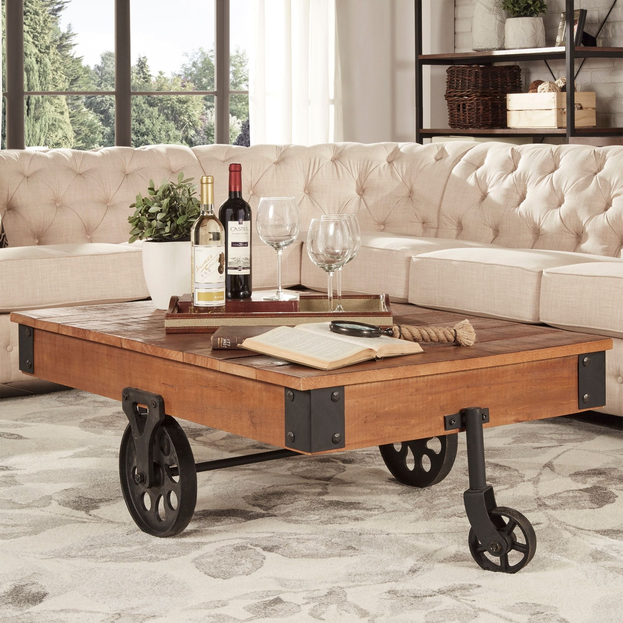Enjoy A Drink With Friends While Sitting Around This Unique Cocktail Table.  Its Funky Design