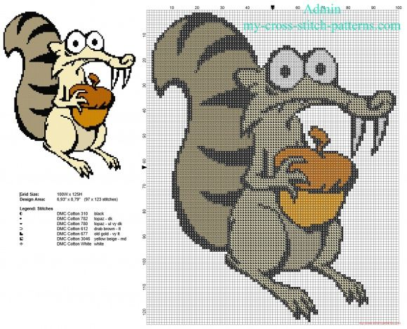 Scrat Character From Ice Age Free Cross Stitch Pattern Download Mesmerizing Cross Stitch Patterns Download