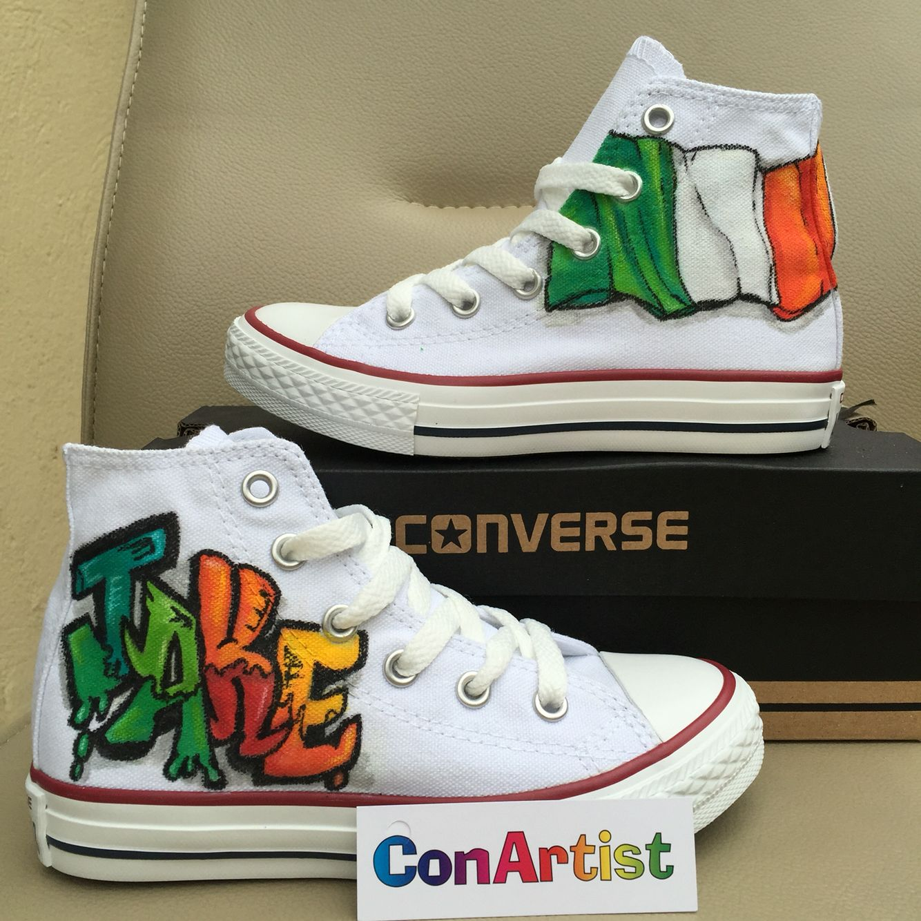 6c6ce53fe988 Graffiti and Ireland themed hand painted custom converse  graffiti  converse   allstars Facebook.com CONARTISTIRL