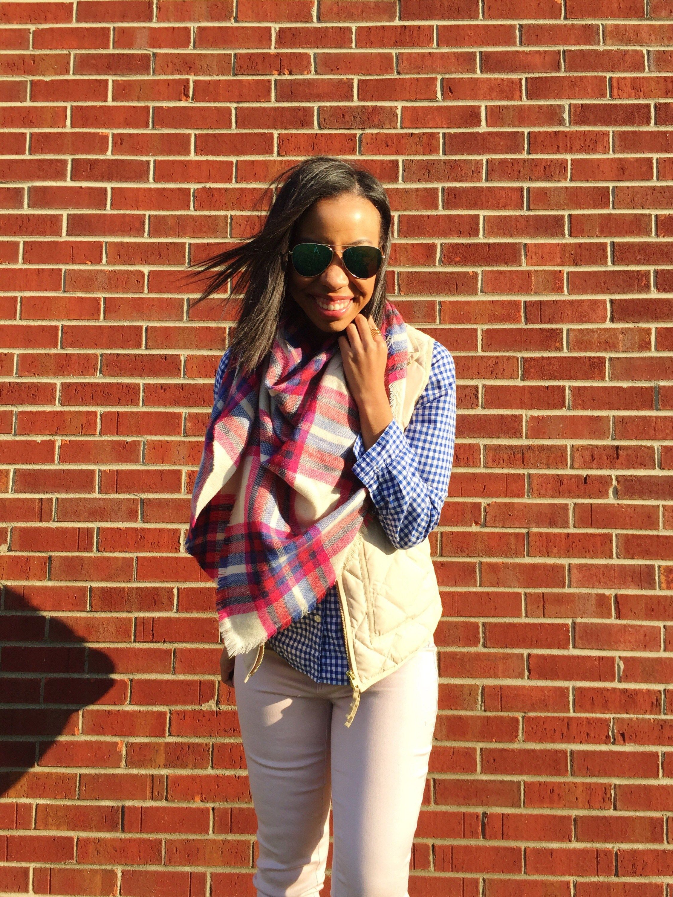 What Nicole Wore: Pink Plaid Blanket Scarf
