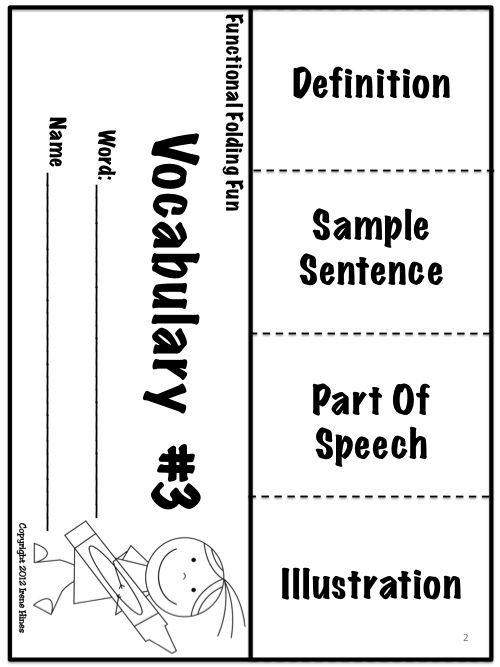 Free Sample From Functional Folding Fun! Vocabulary Flip