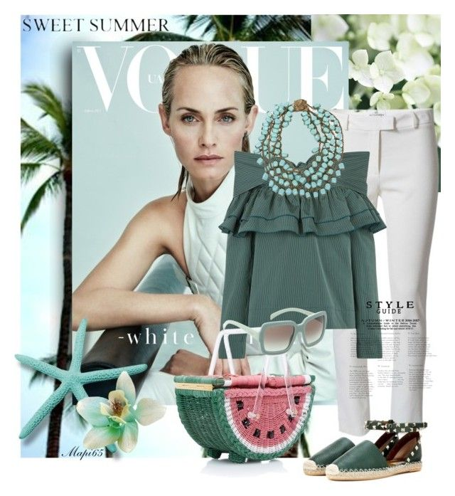 """White and Green"" by mariapia65 ❤ liked on Polyvore featuring Valletta, Altuzarra, Isa Arfen, Charlotte Olympia, Miriam Haskell, Prada and Valentino"