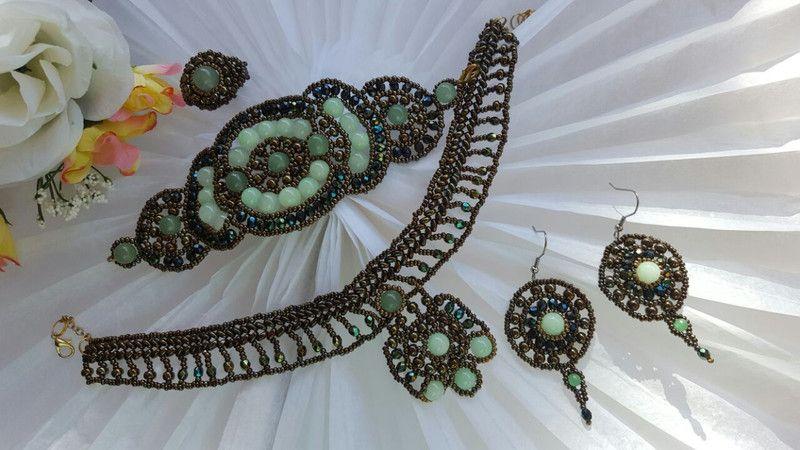 Conjuntos de joyas - 35. EKATERINA ( Aventurina y cristal) - hecho a mano por DelikaElite en DaWanda