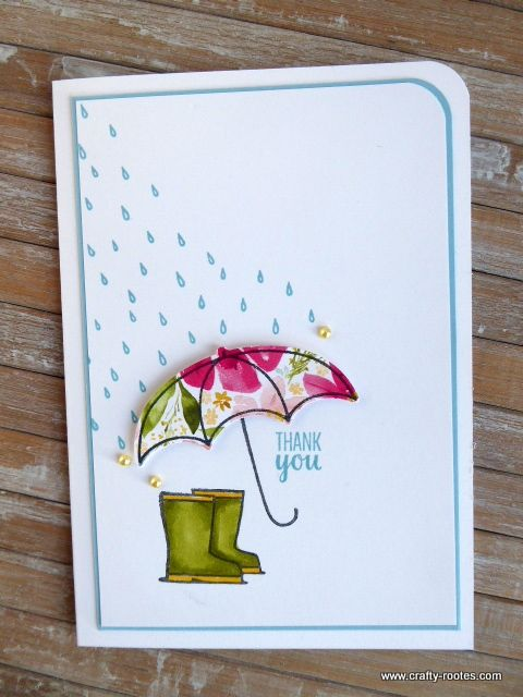 Under My Umbrella  Wellies and a Brolly is part of Umbrella cards, Under my umbrella, Stamping up cards, Card tutorials, Card craft, Stamped cards - Today I am sharing a pretty card made using the Under My Umbrella stamp set and the Umbrella Builder Punch along with a scrap of Best Dressed dsp