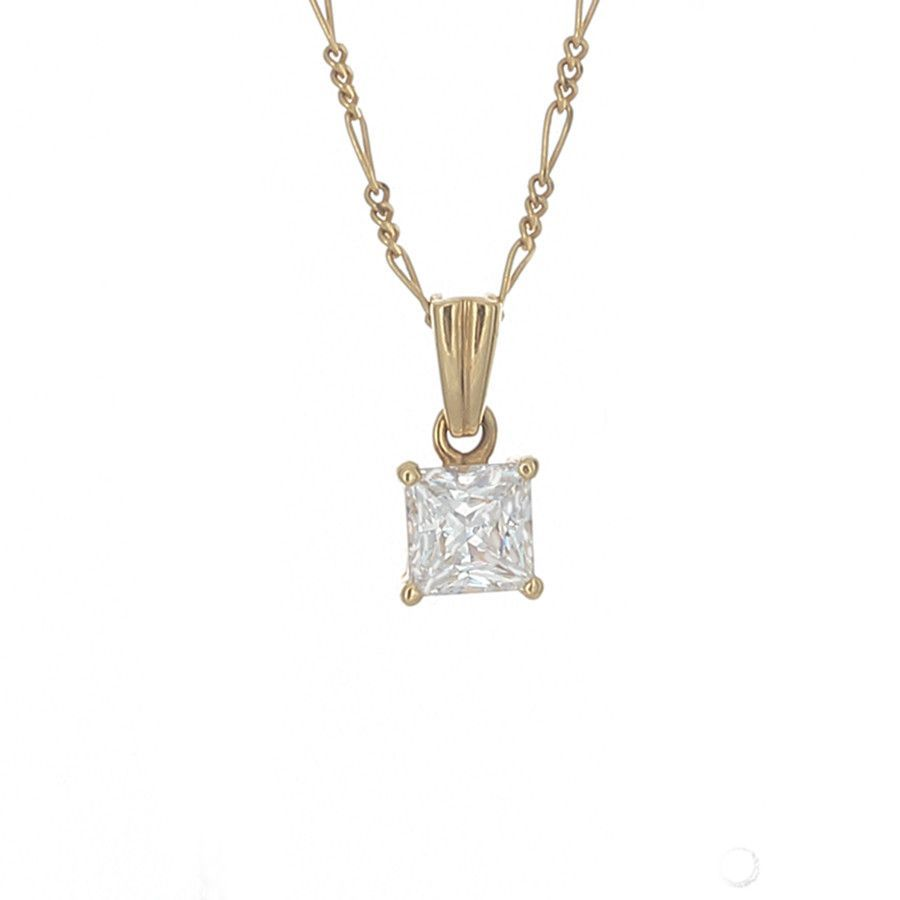 womens diamond necklace princess gia certificate necklaces image cut with carat gold