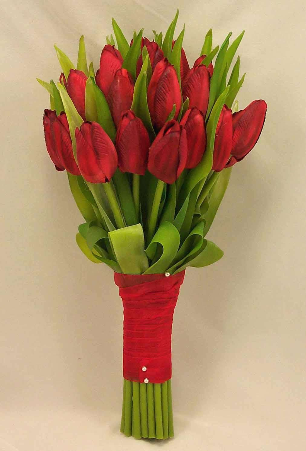 Closed Red Silk Tulips Red Tulip Bridal Posy Bouquet Red