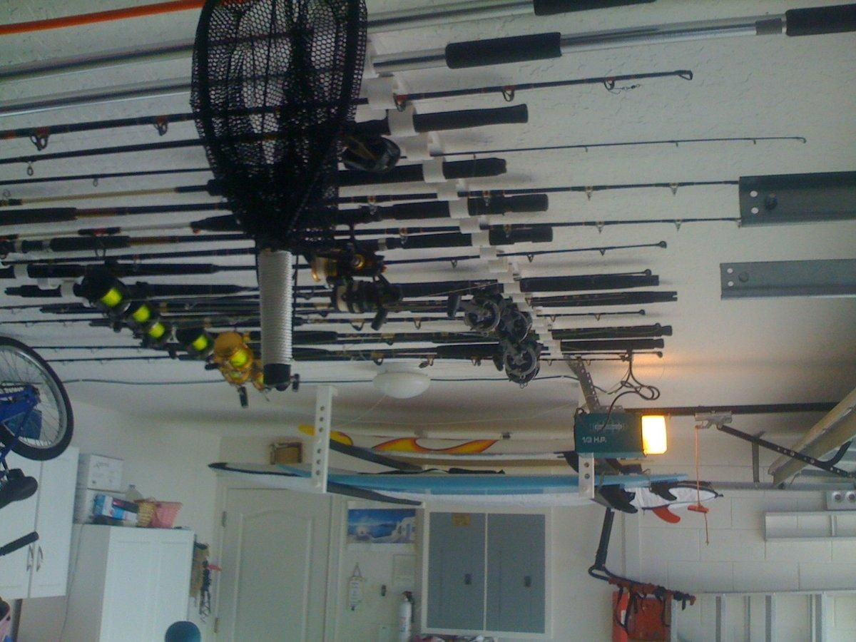 Pin By Boston Whaler On Functional Finds Overhead Storage Fishing Rod Storage Storage