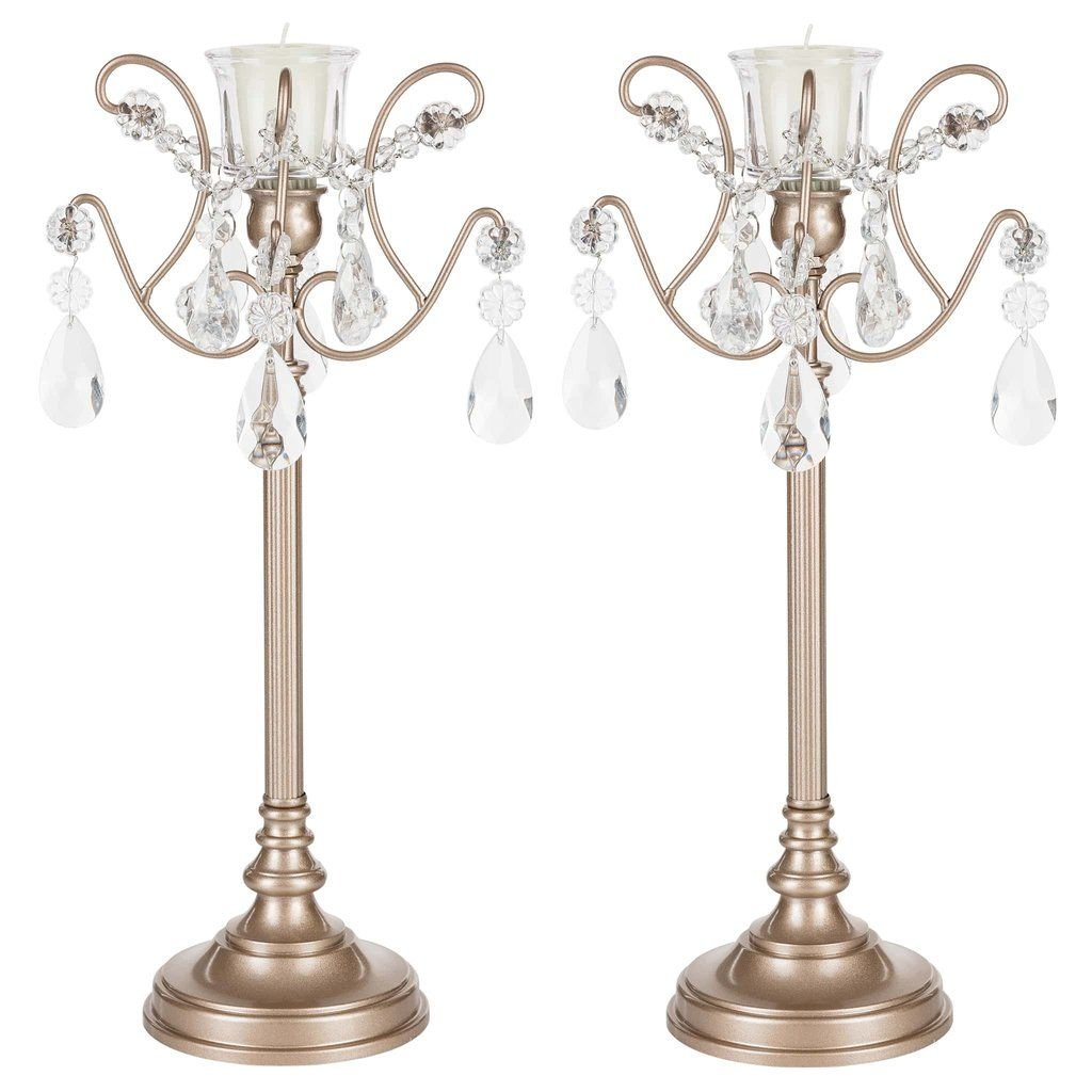 2 Piece Metal Candlestick Candelabra Set With Glass Crystals Champagne Metal Candlesticks Candle Holders Wedding Centerpieces Candlesticks
