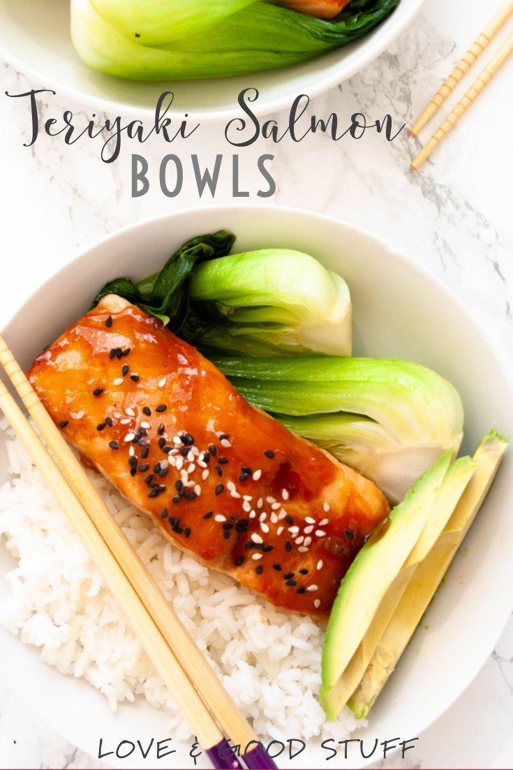 Teriyaki Salmon Bowl #salmonteriyaki Teriyaki salmon bowls with an easy to make homemade teriyaki sauce.  This quick meal is on the table in 20 minutes!  Serve with avocado and bok choy or your favourite green veggies. #salmon #teriyaki #easy #recipe #salmonteriyaki