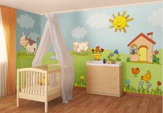 Paredes con dibujos para habitaciones infantiles nena - Dibujos habitacion bebe ...