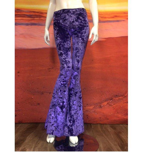 f4e071e7af8167 Purple Crushed Velvet Flare Leggings Tights Bell Bottom Pants 70's Spandex  Stretch