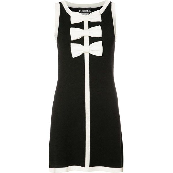 Boutique Moschino Bow Tie Mini Dress 305 Liked On Polyvore Featuring Dresses Black Short Dresses Bouti Sleeveless Mini Dress Dresses Wool Knitted Dress