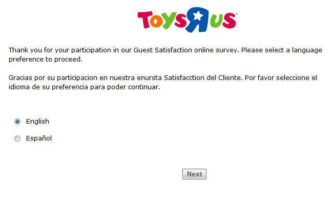 Toys R Us Customer Satisfaction Survey Toy Toysrus Survey