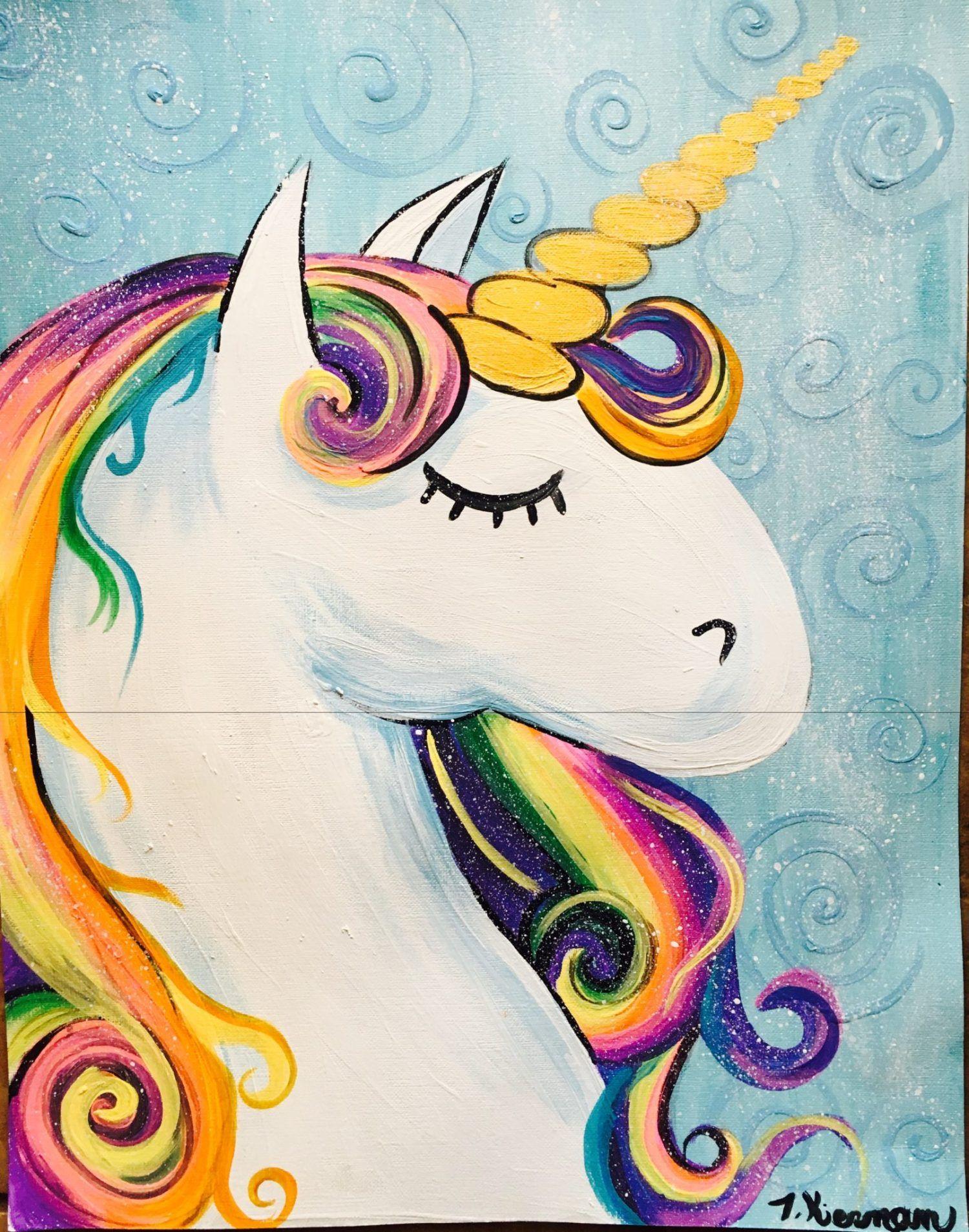 How To Paint A Rainbow Unicorn Unicornio Pintar Arte De Unicornio