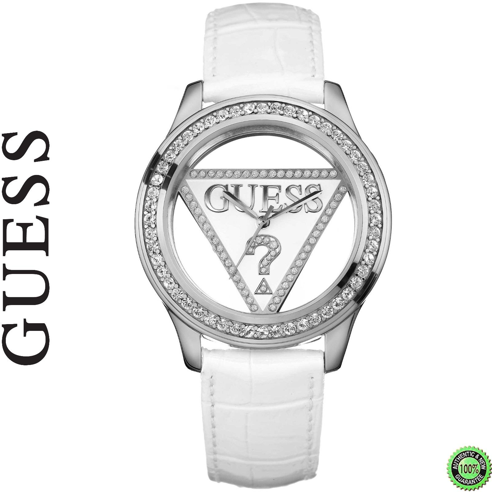 montre guess femme bracelet cuir blanc et cadran transparent argent avec strass montre. Black Bedroom Furniture Sets. Home Design Ideas