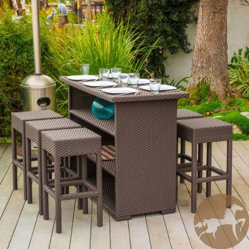 Amazon.com: Outdoor Patio Seven Piece Brown Wicker Bar Set With 6 Backless  Bar Stools And Bar Table, Storage Shelving, And Weatherproof Material: Patio,  ...