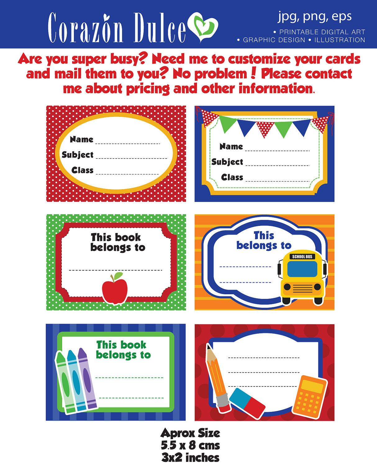 Back to School Labels- Printable school labels /tags, book labels ...