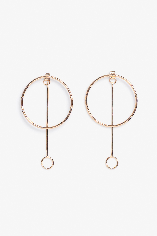 Minimalist Eternity Geometric Interlock Circle Hoop dangle Earrings Sterling Silver CZ earrings