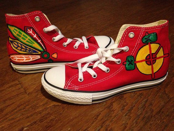 fc217f9ada8301 Custom Chicago Blackhawks shoes Kids Converse Shoes