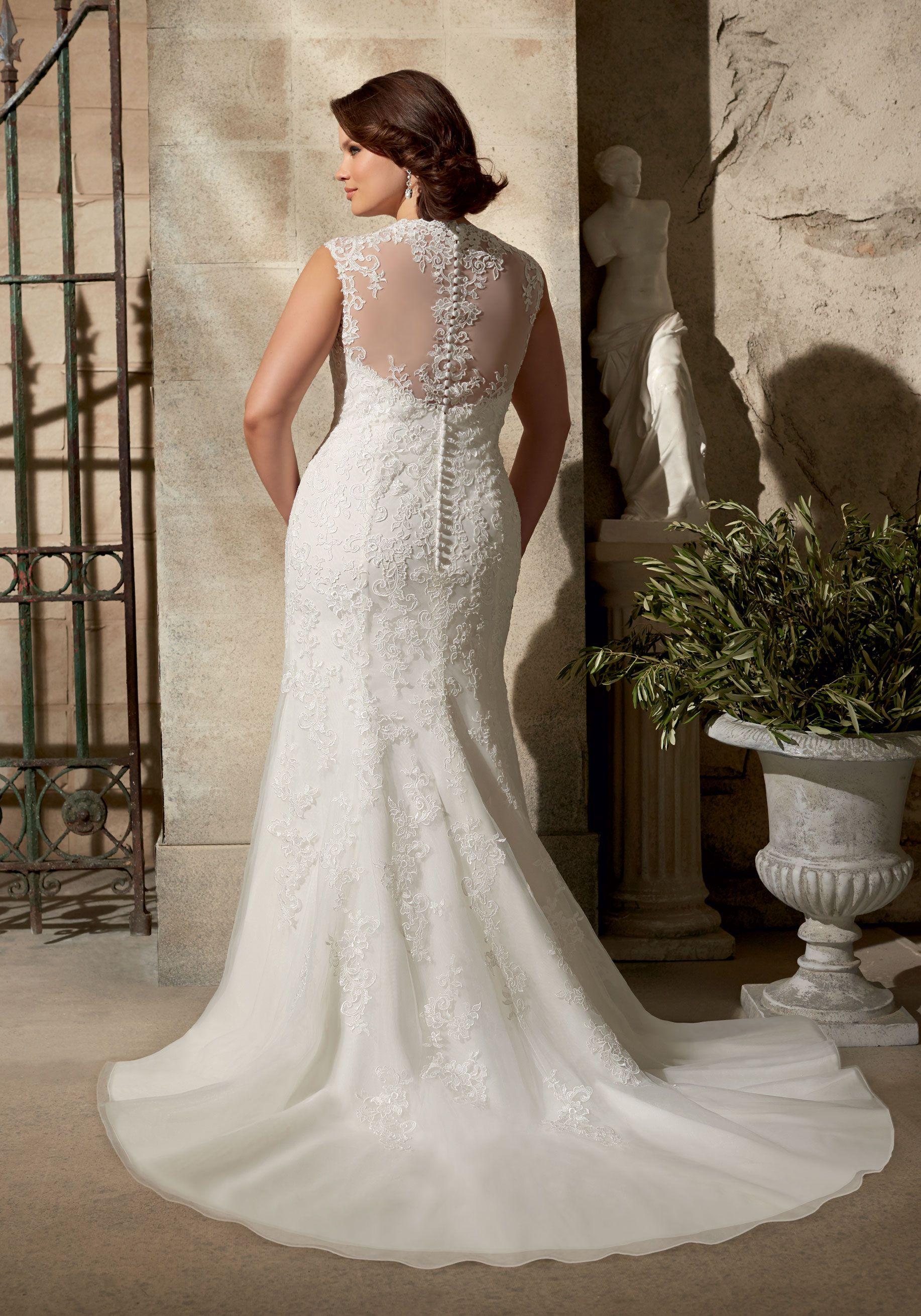Plus size white wedding dresses  Venice Lace Appliques on Soft Net Plus Size Wedding Dress Colors