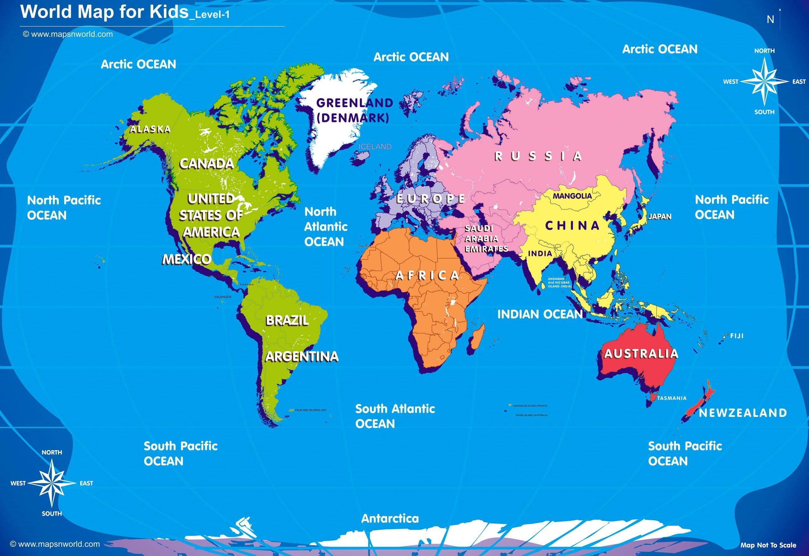 Remarkable World Map For Kids With Countries S