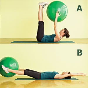 Target: Upper and lower abs and backStart: Hold a stability ball in both hands, and lie back on a mat with arms extended overhead, legs straight.Move: (A) Slowly crunch upper and lower abs together by raising arms and legs to meet above stomach. (B) Place ball between feet, then lower arms and legs back toward floor. Keep muscles contracted, allowing arms and legs to slightly touch the floor―if at all. Reverse the move by lifting legs and arms back to center, moving the ball to hands, then…