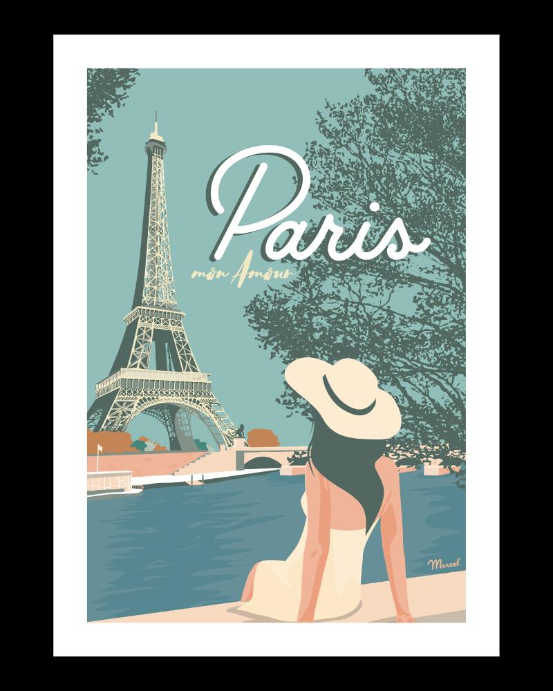 Affiche Vintage Paris Mon Amour Marcel Travel Poster Taille 30 X 40 Cm In 2020 Vintage Poster Art Retro Travel Poster Paris Poster