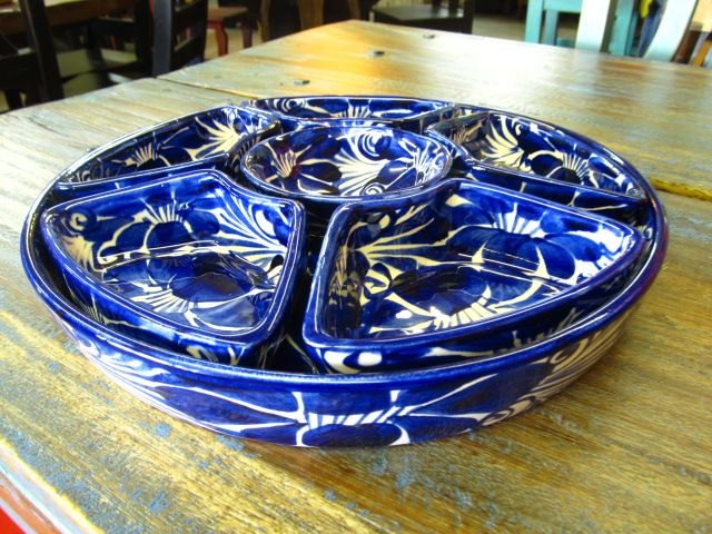7 Piece Talavera Hand painted Serving Tray Blue & White perfect for a house warming gift.  For more info contact us directly at 713 880 2105 located in Houston Texas