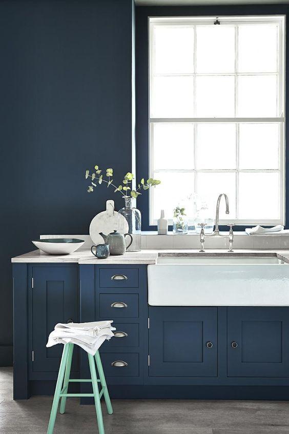 Cómo combinar cocinas con muebles oscuros | Elegante, Azul y Cocinas