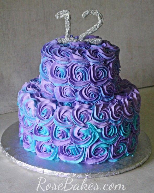 Purple & Teal Swirled Buttercream Roses Cake