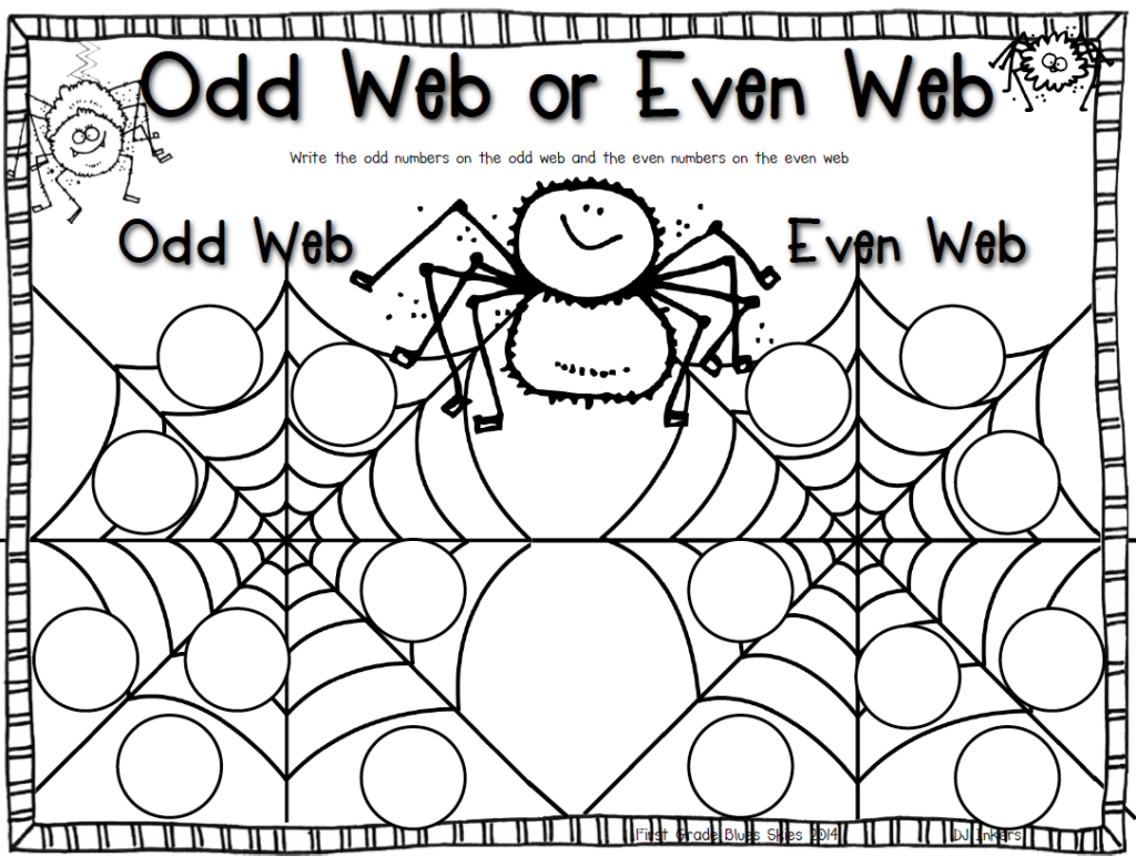 Odd and Even Webs Freebie! {and my week} - First Grade Blue Skies   Spider  math activities [ 773 x 1024 Pixel ]