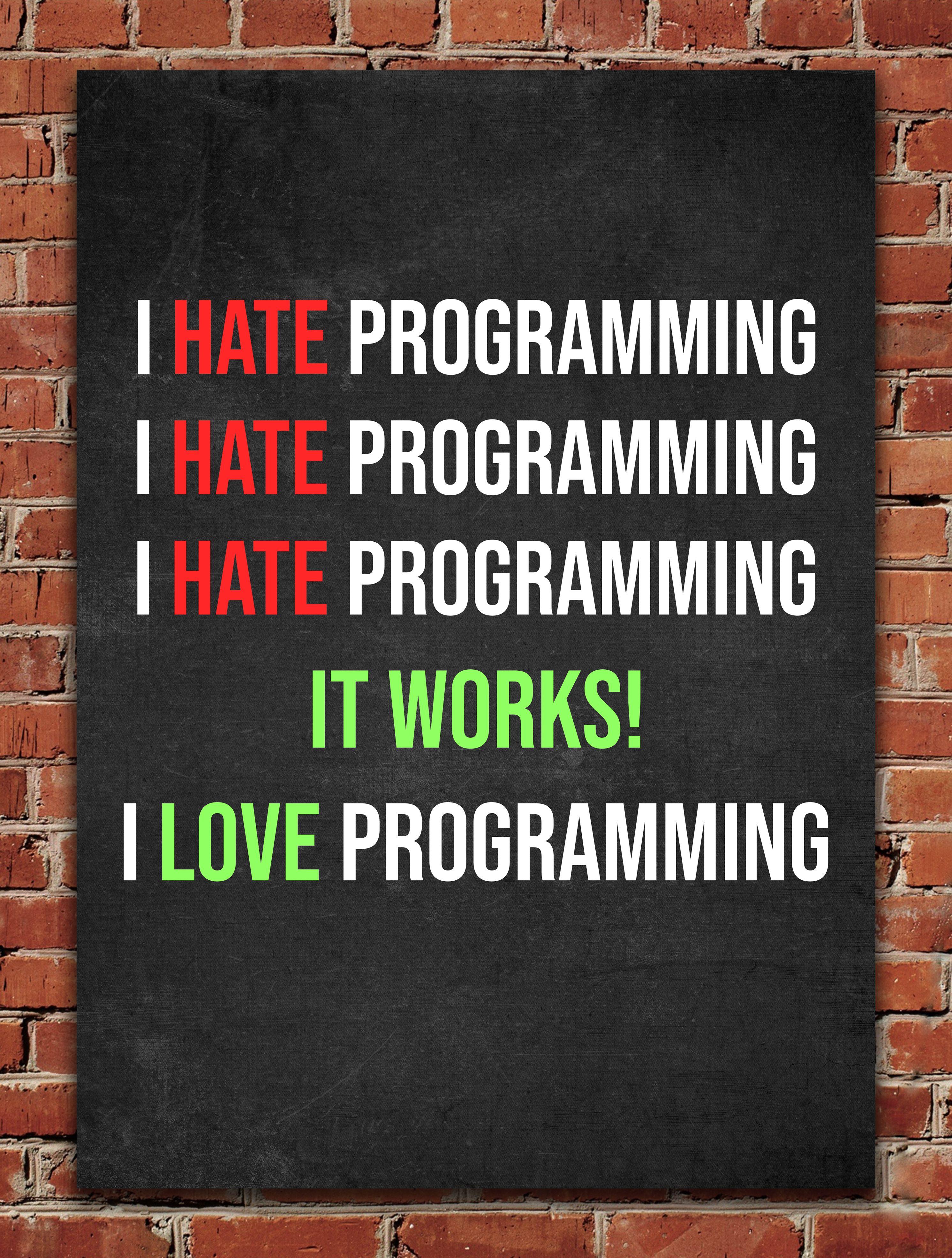 I Love Programming Metal Poster Posterworld Displate Funny Quotes Programmer Jokes Programmer Humor
