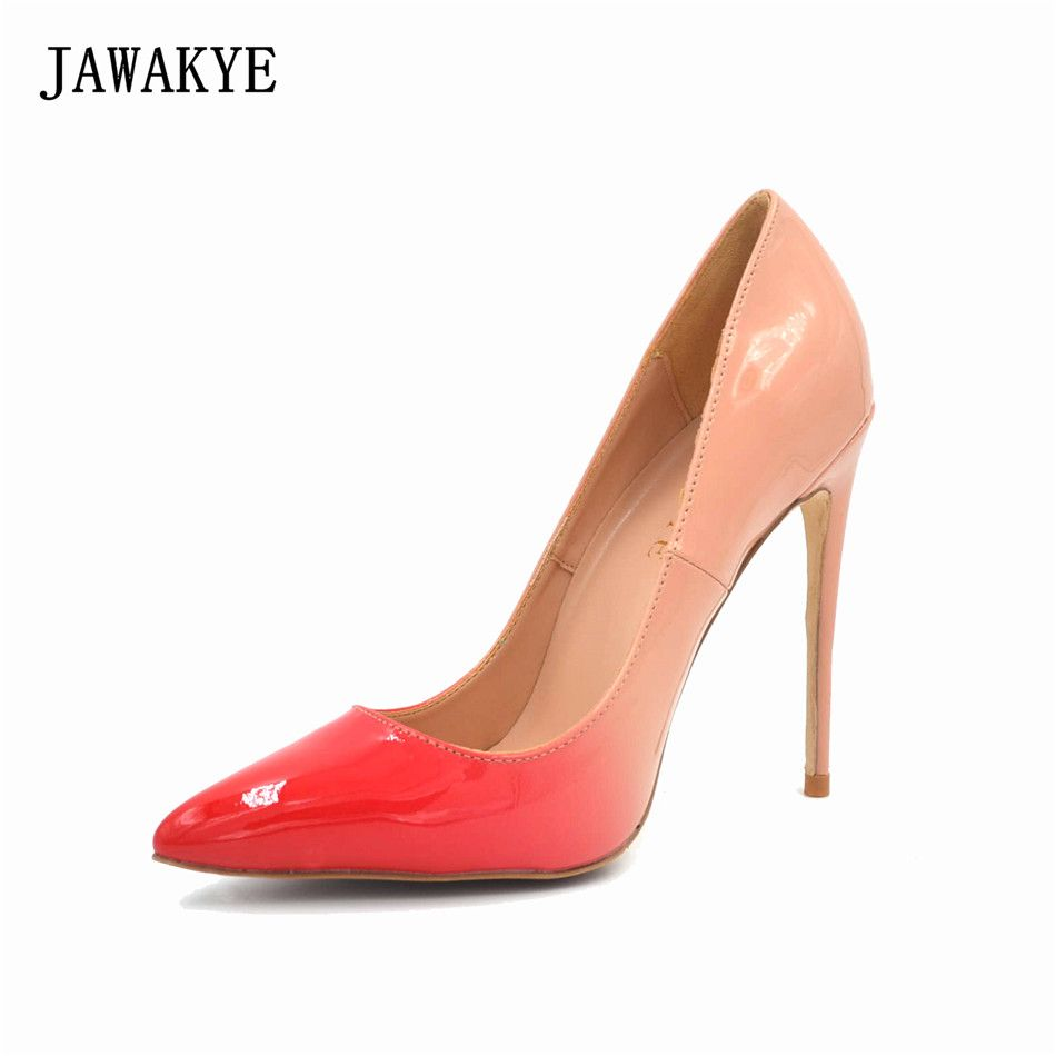 Spring Fall red nude super high heels lady pumps patent letaher dress shoes  women pointed toe fe6a5cc756ec