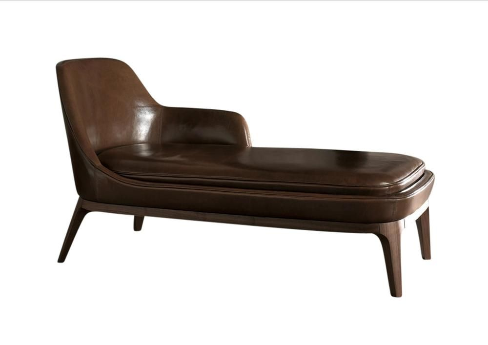Dory Chaise Lounge Materials Italian Leather Walnut Dimensions