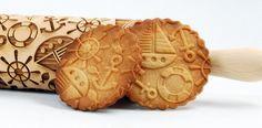 Teigrolle mit maritimen Motiven, Backen / pin roll for cookie dough, nautical motives made by Wooden Corner via DaWanda.com