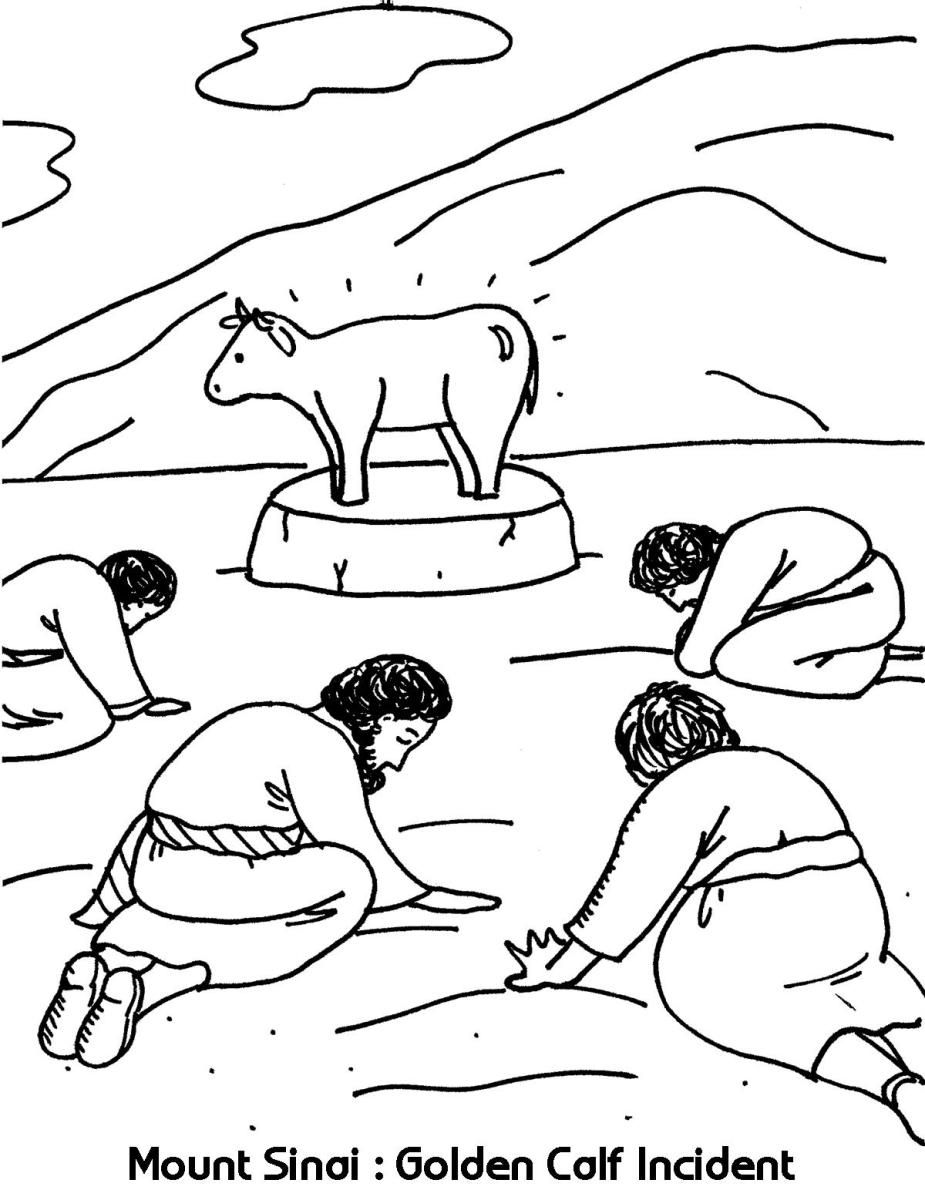 Mount Sinai Golden Calf Incident Exodus 19 1 20 21 Golden Calf Coloring Pages Cow Coloring Pages