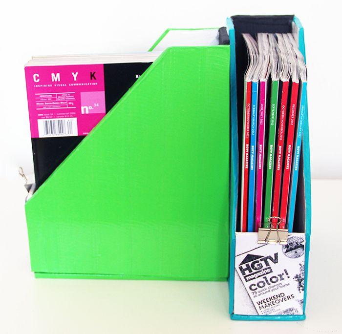 Cardboard Magazine Holder Make your own cardboard magazine holder ! DIY Magazine Holders 15